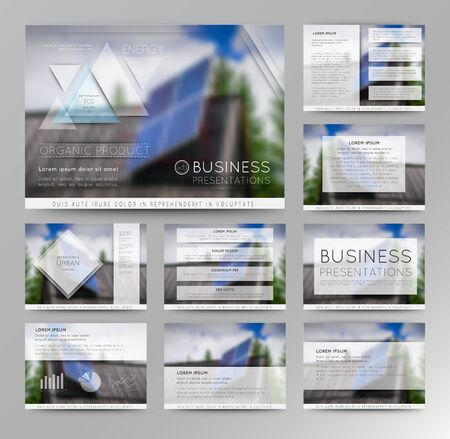 Abstract vector backgrounds of blur solar panel in a remote mountain village. Set of vector templates for presentation slides and business presentation.