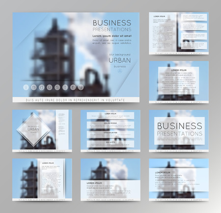 Abstract defocused vector backgrounds of factory building. Set of vector templates for presentation slides and business presentation.
