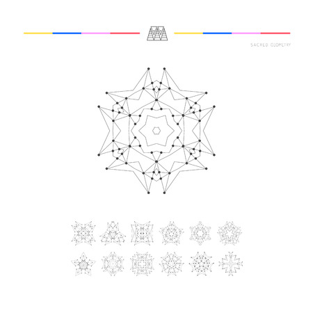 philosophy: Sacred geometry. Set of minimal geometric shapes. Business signs, labels, trendy hipster linear icons and logotypes. Religion, philosophy, spirituality, occultism symbols collection
