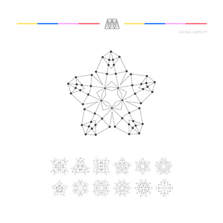 Sacred geometry. Set of minimal geometric shapes. Business signs, labels, trendy hipster linear icons Illustration