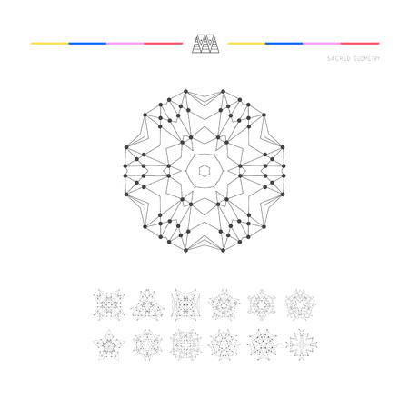 sacred geometry: Sacred geometry. Set of minimal geometric shapes. Business signs, labels, trendy hipster linear icons Illustration
