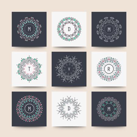Sacred geometry. Set of minimal geometric shapes. Business signs, labels, trendy hipster linear icons Ilustração