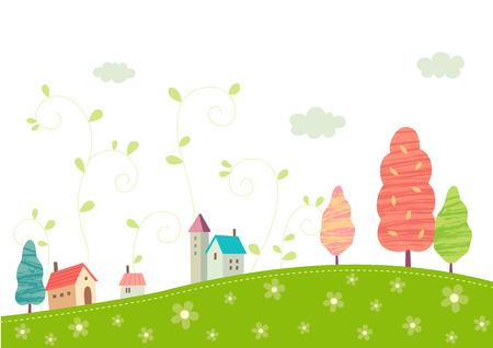Village on the hills Illustration
