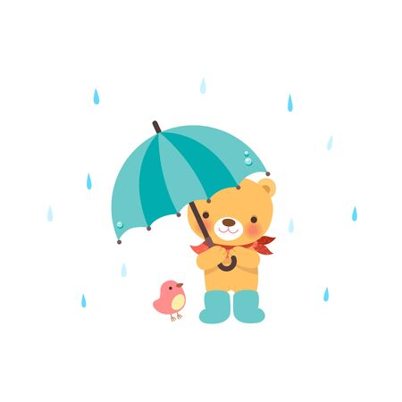 Cute bear and a little bird Under the umbrella 矢量图像