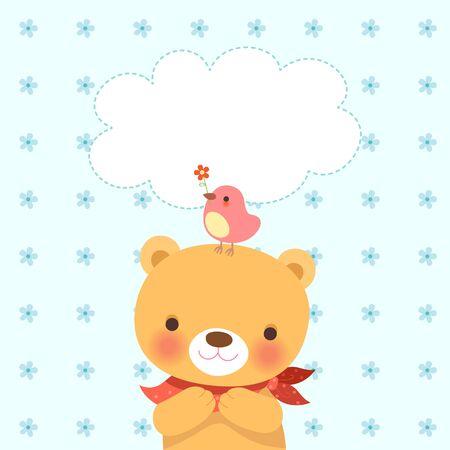 affability: Cute bear and a little bird-blue flower pattern