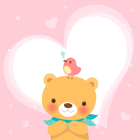 greetings from: Cute bear and a little bird-heart pink background Illustration