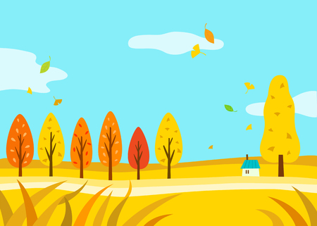 fall leaves: Beautiful Autumn Landscape Illustration
