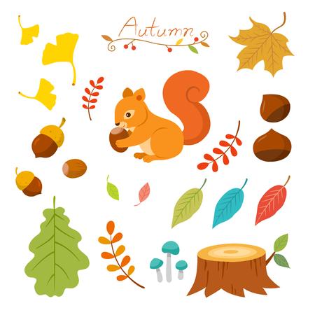 cartoon autumn: Autumn elements set Illustration