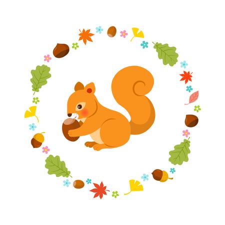 animales del bosque: Ardilla en el otoño
