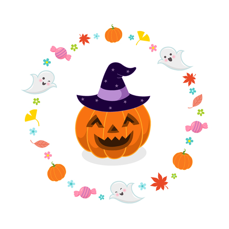 dynia: Halloween pumpkin with witches hat