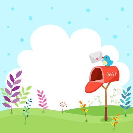 cartero: Un poco cartero pájaro en el cielo de fondo Vectores