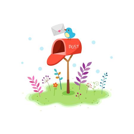 little bird: A little bird Postman Illustration