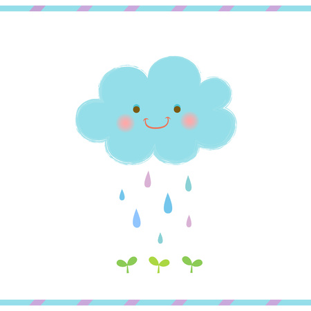 young leaves: Cute smiling cloud and rain drops falling on the green sprout