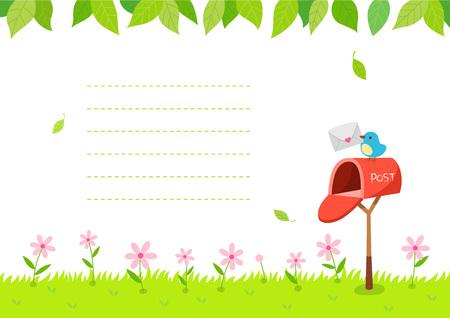 Sfondo di natura estiva con cassetta postale e uccello Vettoriali
