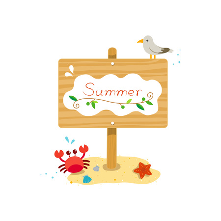 Summer wooden sign with crab, starfish, seagull