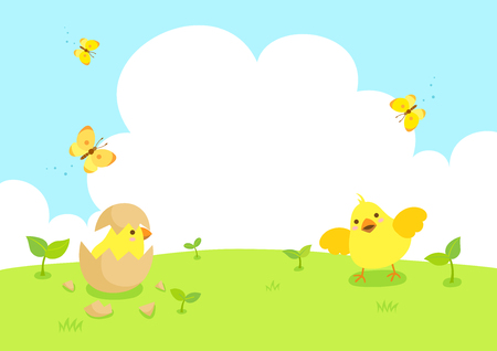 Happy Easter with cute chicks and butterfly.Spring background