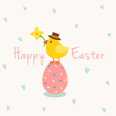 Easter egg and cute chick with hearts pattern Illustration