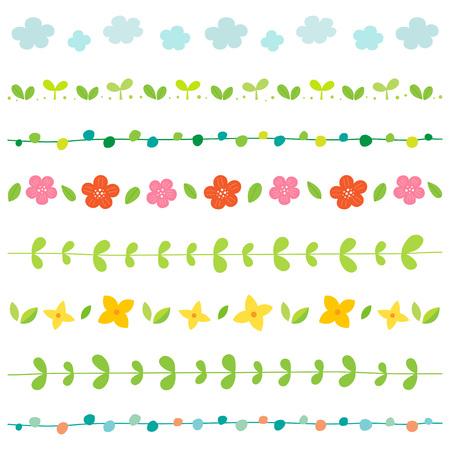 Spring elements border set Illustration