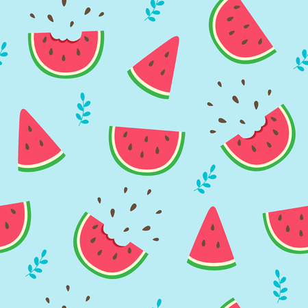 Watermelon slices seamless pattern on blue background