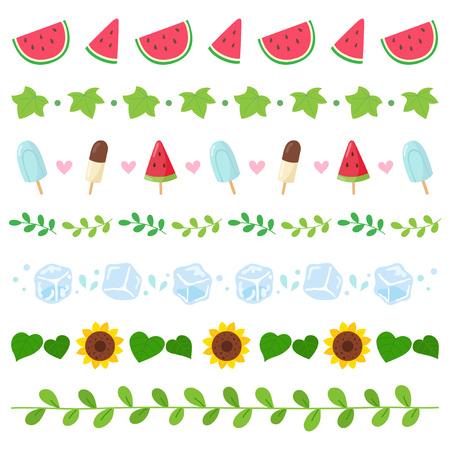 Conjunto de borde de elementos de verano Ilustración de vector