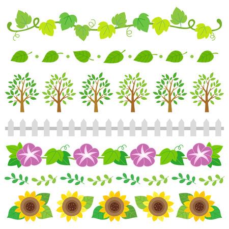 Summer nature elements border set