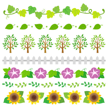 Summer nature elements border set