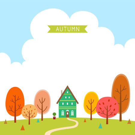 The house of the forest in autumn. Ilustrace