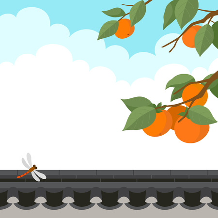 Persimmon tree and dragonfly with traditional Korean style stone wall fence.Autumn harvest holiday background Illustration