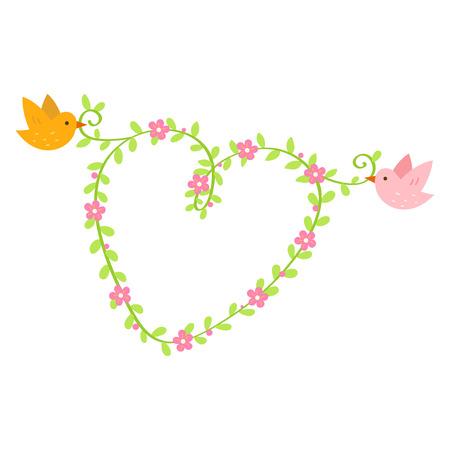 Little bird couple with flower heart garland