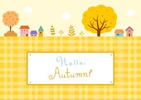 Autumn landscape with ginkgo tree and village Vektorové ilustrace