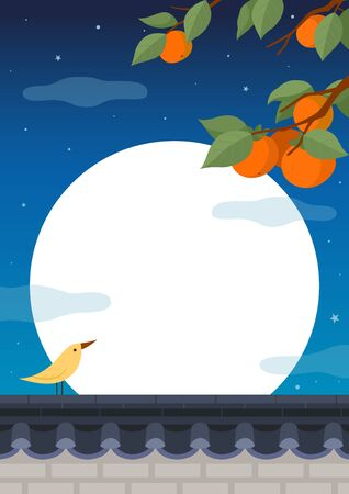 Full moon night background. Persimmon tree with bird on traditional Korean style stone wall fence.