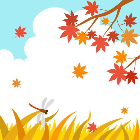Autumn landscape with maple tree and dragonfly