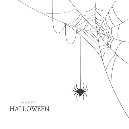 Spider and cobweb on white background. Happy Halloween greeting card Stock Illustratie