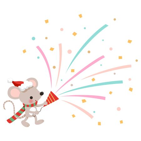 Cute mouse holding party popper for Christmas party isolated on white background