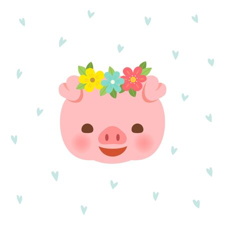 Cute pig with flower crown on blue hearts pattern Archivio Fotografico - 131339840
