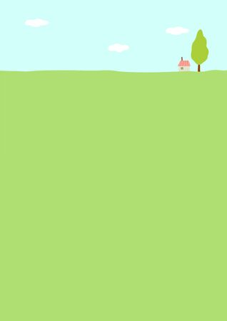 Rural scenery with small house and a tree.  イラスト・ベクター素材