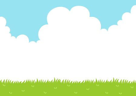 Sky and grass field background  イラスト・ベクター素材