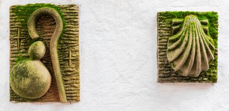 symbols of the road of santiago conch cane Reklamní fotografie