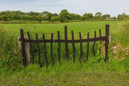 puerta de madera en un campo Foto de archivo