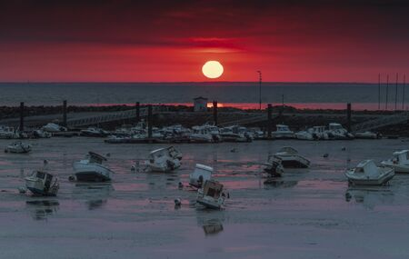 sunset on the french coast real big red sun