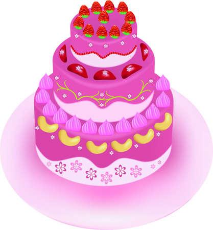 big strawberry cake painting Illustration
