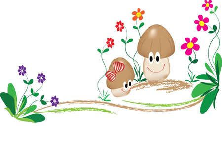 family of cartoon mushroom Vector