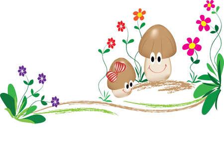edible mushroom: family of cartoon mushroom