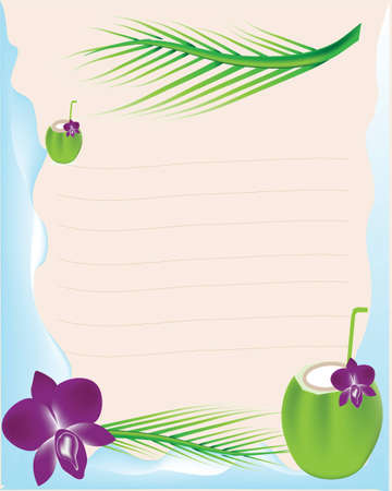Coconut juice and orchid with paper Illustration