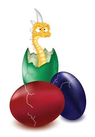 Snake monster in the egg shell  Illustration
