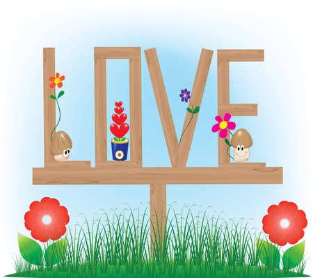 Love and Lovely cartoon mushroom Illustration