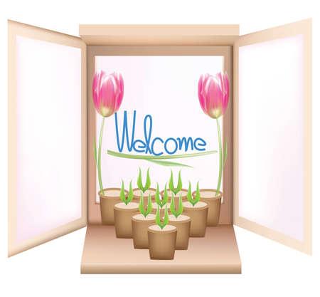 Flower and vase window vector