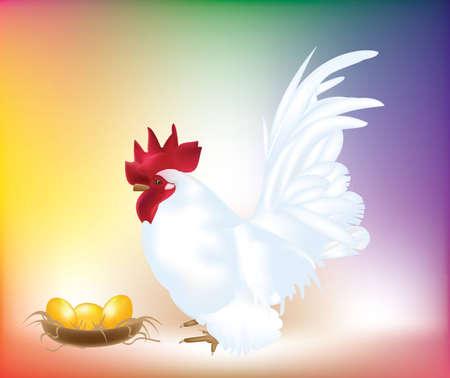 White chicken with golden eggs