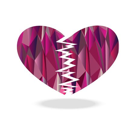 Polygon broken heart diamond