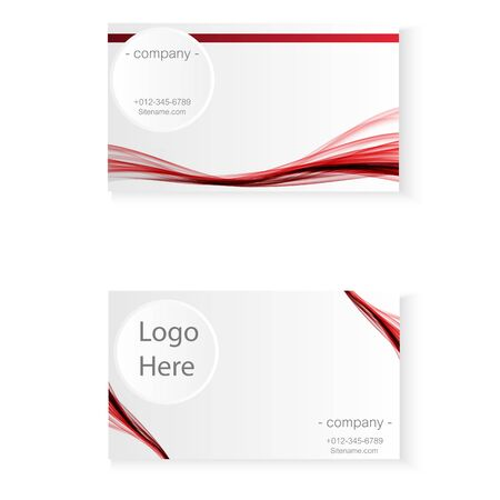 abstract red color wave business card Illustration